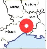 Carte du sud de la France présentant la zone d'intervention de Robertoiture